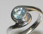 9ct white gold twist style 0.62ct aquamarine engagement ring