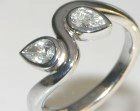 18ct white gold 'ivy' engagement ring with two pear shaped diamonds