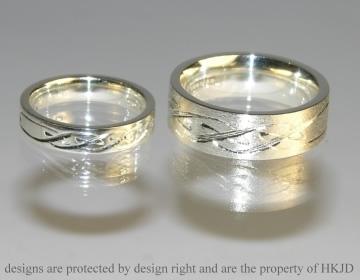 Bespoke 9ct White Gold Wedding Rings With Engraving