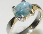 bespoke white gold engagement ring with cabachon aquamarine