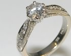 bespoke 18ct white gold engagement ring with customers own diamonds