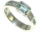 9ct white gold engagement ring with aquamarine and diamonds