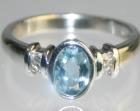 platinum engagement ring with aquamarine and diamonds