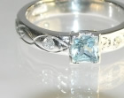 bespoke 18ct white gold engagement ring inspired by mountains and celtic design