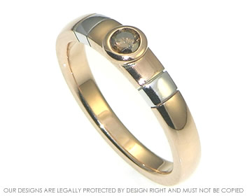 9ct rose and white gold cognac diamond engagement ring