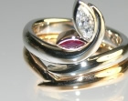 platinum and 18ct rose gold maple leaf inspired engagement and wedding ring set