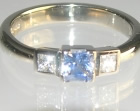 18ct white gold 0.42cts ceylon sapphire and 0.17cts diamond engagement ring