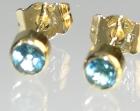 bespoke 18ct yellow gold andlondon blue topaz earrings