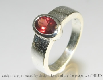 chunky silver and garnet ring