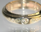 9ct yellow gold ring using customers own wedding ring and diamonds 0.11ct, 0.03 and 0.03