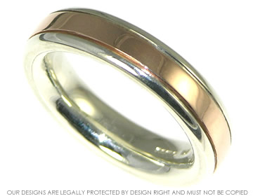 completely smooth profile white gold and inlaid rose gold wedding band