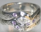 bespoke platinum engagement ring and wedding band with lilac sapphires and diamonds