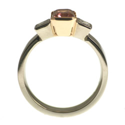 18ct white and rose gold tourmaline and diamond engagement ring