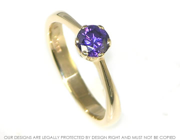 yellow gold amethyst solitaire
