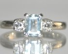 platinum engagement ring with 0.87ct aquamarine and h si diamonds totaling 0.34cts