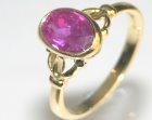 18ct yellow gold re-design of customers old ring with own 2.42ct ceylon ruby