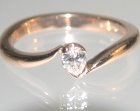 9ct rose gold and 0.11ct hsi pear shape diamond engagement ring