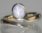 18ct white gold star sapphire shooting star inspired ring