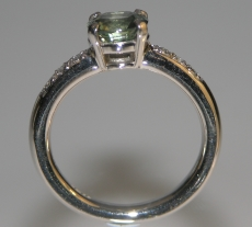 18ct white gold green sapphire and diamond victorian inspired engagement ring