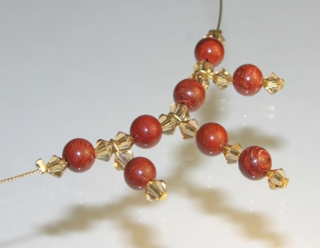 necklace with jasper spheres and colorado topaz coloured swarovski crystals