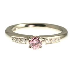 pink heat-treated diamond platinum engagement ring with white diamonds
