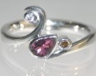 9ct white gold engagement ring with pear shape tourmaline and brilliant cut diamonds