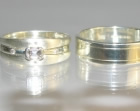 bespoke 9ct white gold pair of wedding rings