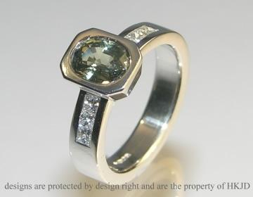platinum green sapphire and diamond engagement ring