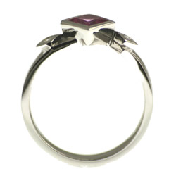 white gold pink sapphire and diamond asymmetrical engagement ring