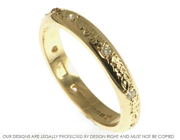 9ct yellow gold pave set full diamond eternity or wedding ring