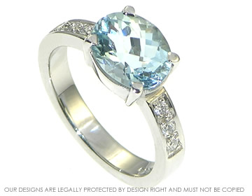 platinum 2.11cts aquamarine ring with pave set diamonds