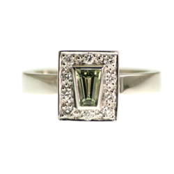 18ct white gold green sapphire engagement ring with pave diamonds