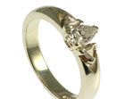 9ct white gold engagement ring with pear cut and two trillion cut diamonds