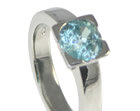 platinum engagement ring incorporating customers own aquamarine