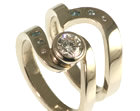 18ct white gold engagement and wedding ring set with clear and blue diamonds