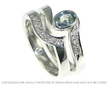 ocean wave inspired sapphire and diamond engagment and wedding ring set