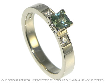 18ct white gold princess cut green sapphire and diamond ring