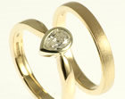 9ct white and yellow gold with a 0.47ct pear shaped diamond