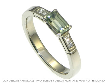 white gold emerald cut green sapphire and diamond engagement ring