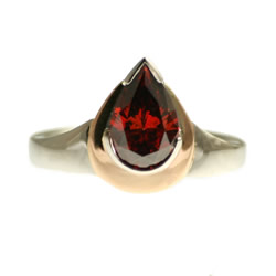 1.40cts red heat-treated diamond candle flame inspired engagement ring