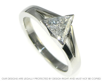 platinum 0.58cts solitaire mountain inspired trilliant cut diamond ring