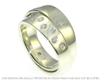 9ct white gold double wrap ring with scatter set diamonds