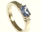 simple three stone diamond and sapphire engagement ring