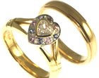 18ct yellow and white gold engagement and wedding ring