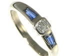 18ct white gold engagement ring with asscher cut 0.31ct diamond and two tapered baguette sapphire