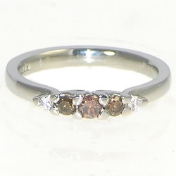 platinum 0.28cts naturally chocolate cognac and white diamond ring