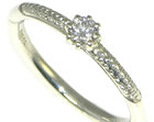 9ct white gold antique style engagement ring with 0.16ct h si diamond
