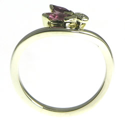 pink sapphire and diamond dragonfly inspired white gold ring