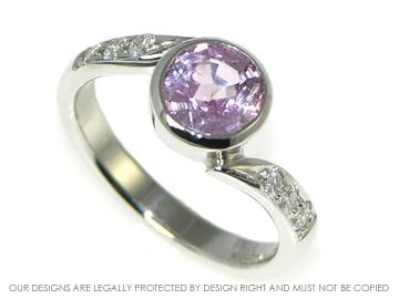 platinum, 1.70ct pink sapphire and diamond engagement ring