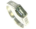 9ct white gold engagement ring with 0.87ct green sapphire and princess cut diamonds
